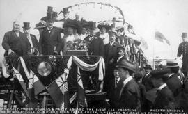 """Earl Grey, Mayor Douglas and party aboard the first car crossing the new Granville Street B..."