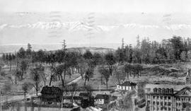 """Beacon Hill Park and Olympic Range, Victoria, BC""; St. Ann's Convent in the foreg..."