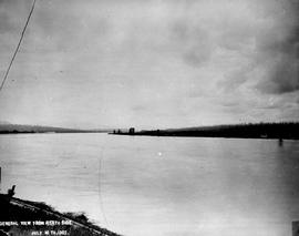 """General view from the north side""; construction of the Fraser River Bridge in New West..."