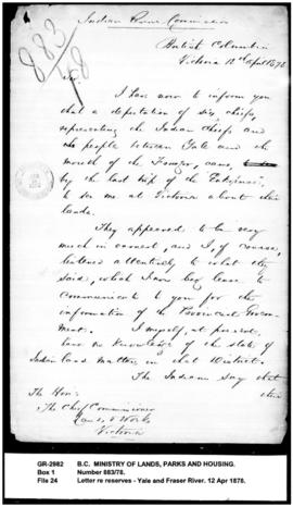 Letter from Sproat to the Chief Commissioner of Lands and Works re reserves between Yale and Fras...