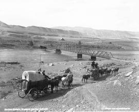 """Cariboo freight waggon leaving Ashcroft""."