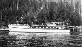 "The provincial board of health patrol and quarantine boat ""Sanita"" at the Goliath Bay l..."