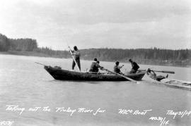 """Taking out the Finlay River fur; HBCo boat."""