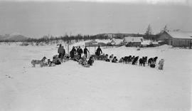 Six men with three sleds and their sled dogs