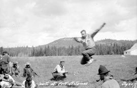 """Sports at Fort St. James""; Pete jumping."