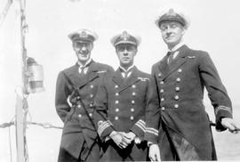 Officers of HMCS Patrician; left to right, Lieutenant Commander Agnew, Commander Nelles, Lieutena...