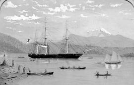 [HMS Plumper in Port Harvey, Johnstone Strait, ca. 1860, after Bedwell]; watercolour taken from a...