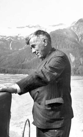 George Ball on the Hazel B, Stikine River; Mr. Ball was the owner of the Diamond B. Ranch - guide...
