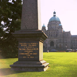 Base of the Sir James Douglas obelisk in front of the Legislative Buildings, Victoria.