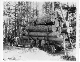 Loaded Logging Truck Holding Lumber Co. Adams Lake.