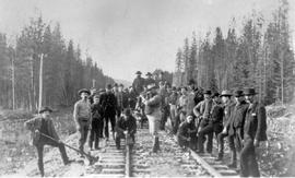 Canadian Pacific Railway employees on the track near Donald the day the last spike was driven