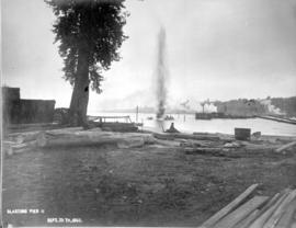 """Blasting pier II""; construction of the Fraser River Bridge in New Westminster."