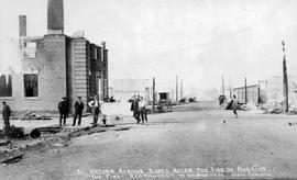 """Victoria Avenue three days after the fire of August 1, 1908; the first restaurant to do bus..."