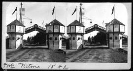 "Stereoscopic view of  ""Fort Victoria 1842""; a decorative arch modelled on Fort Victoria..."