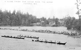 """A close finish; war canoe race, the Gorge, Victoria BC"""