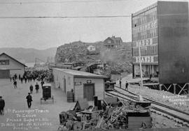 """First passenger train to leave Prince Rupert, BC to Mile 100 near Kitselas, June 14th 1911&..."