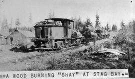 """A wood-burning shay at Stag Bay."""