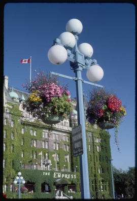 Hanging Baskets And Empress Hotel, Victoria