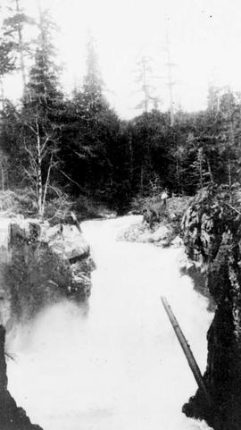 """Upper Falls near site of diversion dam on the Little Qualicum River, location is near Camer..."