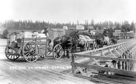 """Freight on wharf, Comox, BC""."