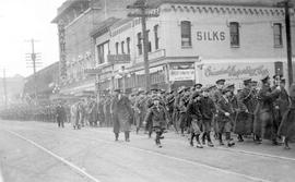 5th British Columbia Regiment, Canadian Garrison Artillery, leaving Victoria, marching south on G...