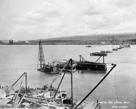 """General view looking south""; construction of the Fraser River Bridge in New Westminster."
