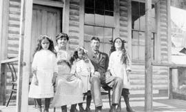 Game warden for Bowron Lake, Frank Kibbie, with his wife and daughters.