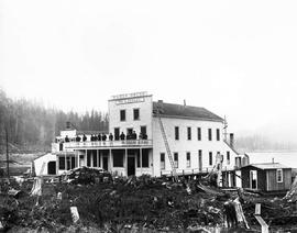 Group on the balcony of Elgin House, Port Moody, William A. Insley, proprietor; also seen, the Co...