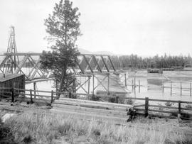 Construction of the Thompson River bridge near Kamloops.