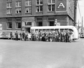 Boys' outside the YMCA at Blanshard and View Street; on their way to summer camp.