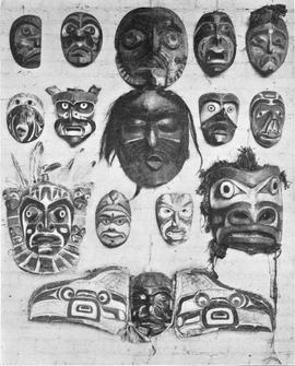 Ceremonial masks worn by the indians of Alaska and Washington