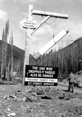 "The ""gallows"" fire protection sign in Manning Park, after a devastating forest fire in ..."