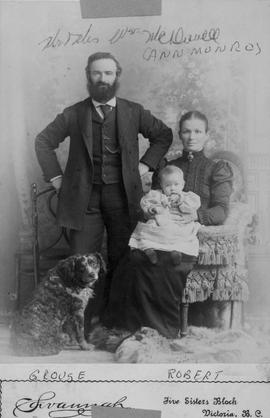 Mr. and Mrs. William McDowell, their infant son, Robert and the dog, Grouse.