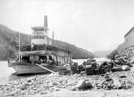 """Loading telegraph supplies; Atlin-Quesnelle tel. line""; SS Strathcona."
