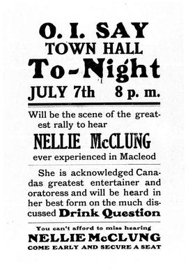 """.....will be the scene of the greatest rally to hear Nellie McClung..."""