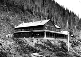 Hotel at Laurie mining camp, property of Lillooet, Fraser River and Cariboo Gold Fields Ltd.
