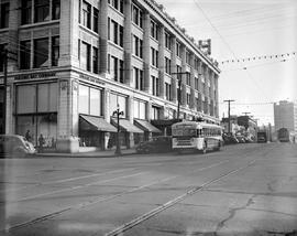 BC Electric Trolley Bus On Douglas Street Victoria; In Front Of The Hudson's Bay Store, Appr...