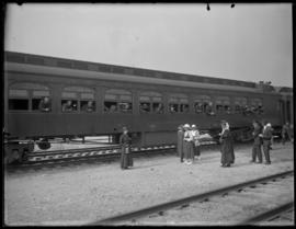 Soldiers prepare to depart a railway station in Vancouver