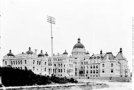Back of the legislative buildings, Victoria; shot taken from the corner of Government and Superio...
