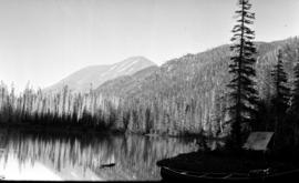 Mount Haven in centre of picture; Smoky Pass seen from Cosgrove Lake.