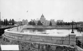 The Victoria legislature from across the causeway.
