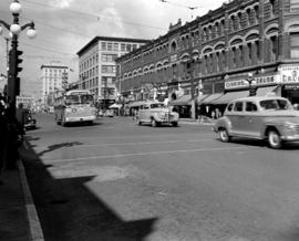 Looking north on Douglas Street from Fort Street; Cunningham Drugs on the northeast corner of For...
