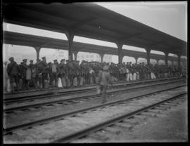Troops waiting to board the Canadian Northern Train