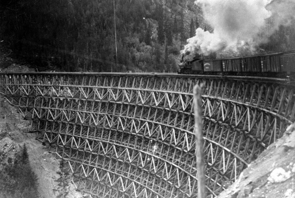 Kettle Valley Railway Freight Train Crossing Lorna Trestle