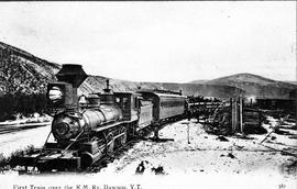 """First Train over the K.M. Ry. [Railway] Dawson, Y.T. [Yukon Territory]"""