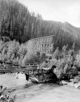 Chinese miners flume crossing the north fork of the Quesnelle River.