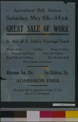 Great Sale Of Work, Agricultural Hall, Duncan.