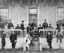 [Members of first Legislature after the union of the two colonies, in front of Birdcages, Victoria]
