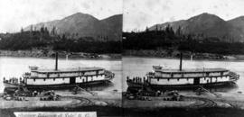 """Steamer Reliance at Yale, BC""; stereographic view."
