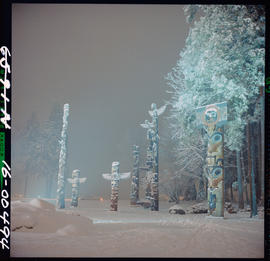 Winter Scene Of Totem Poles In Stanley Park, Vancouver